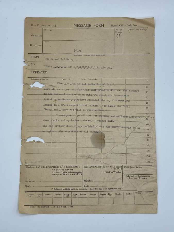 WW2 RAF Signal Message Form 96A D-Day Last Great Battle &Advance East