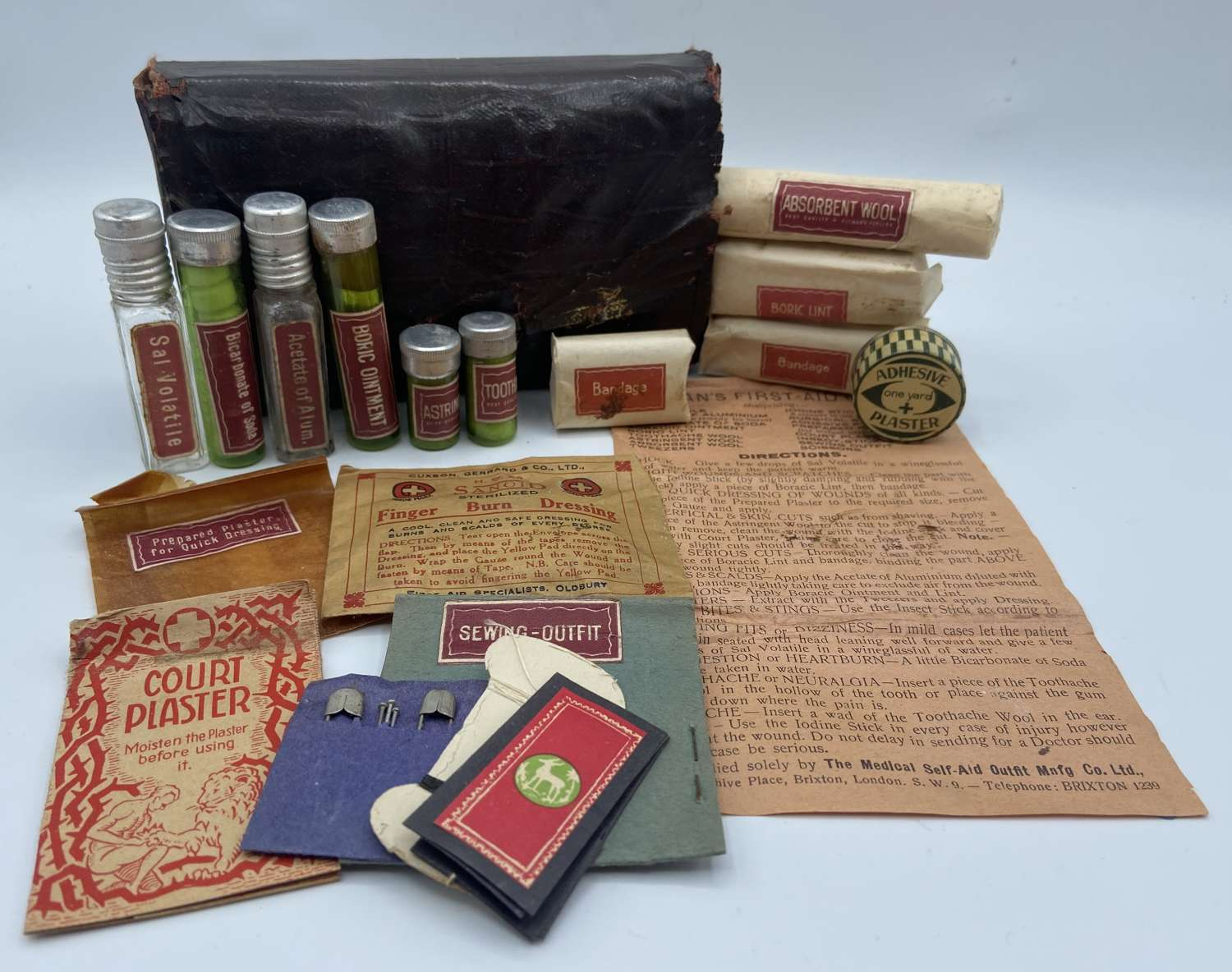 Victorian 1890s Travel Pocket Apothecary Kit With Contents