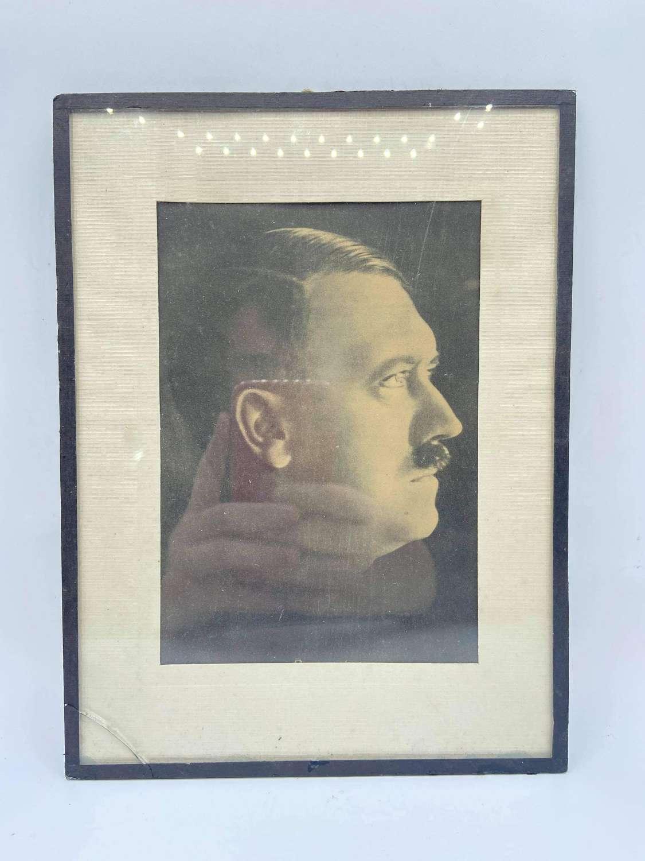 WW2 German Portrait Framed Photograph Of Adolf Hitler Winterhilfswerk