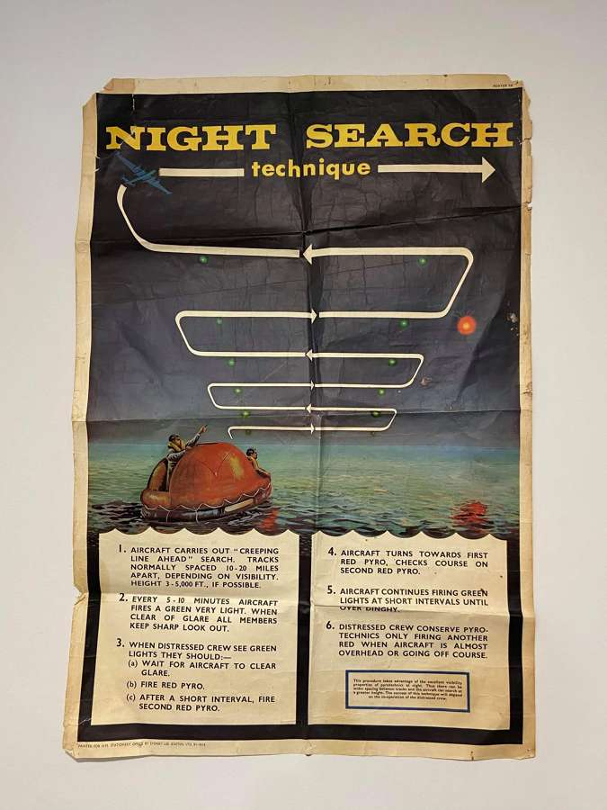 Large WW2 1940s RAF Night Search Technique Poster By Sydney Lee