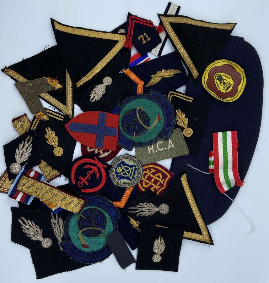 Job Lot Of WW1-2 Army RAF And Navy Patches, Formation Patches & Cap