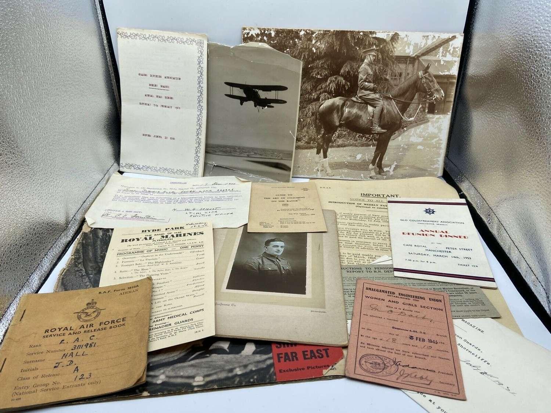 Job Lot Of WW1 & WW2 British Army RAF & Navy Ephemera, Leaflets & Docs