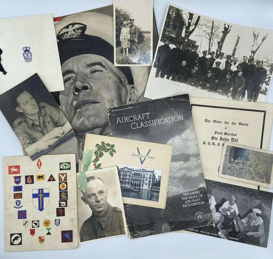 Job Lot Of WW1 & WW2 British Army RAF & Navy Ephemera, Leaflets & Doc