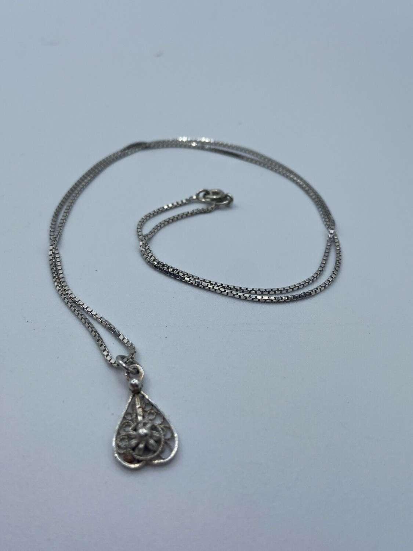 Antique Art Nouveau Filigree Silver Floral Necklace & Pendant