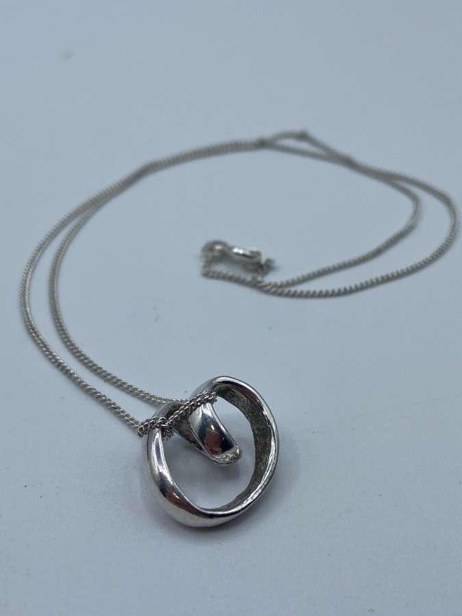 Antique Italian Silver Hallmarked IJ Italy 925 Eternity Necklace
