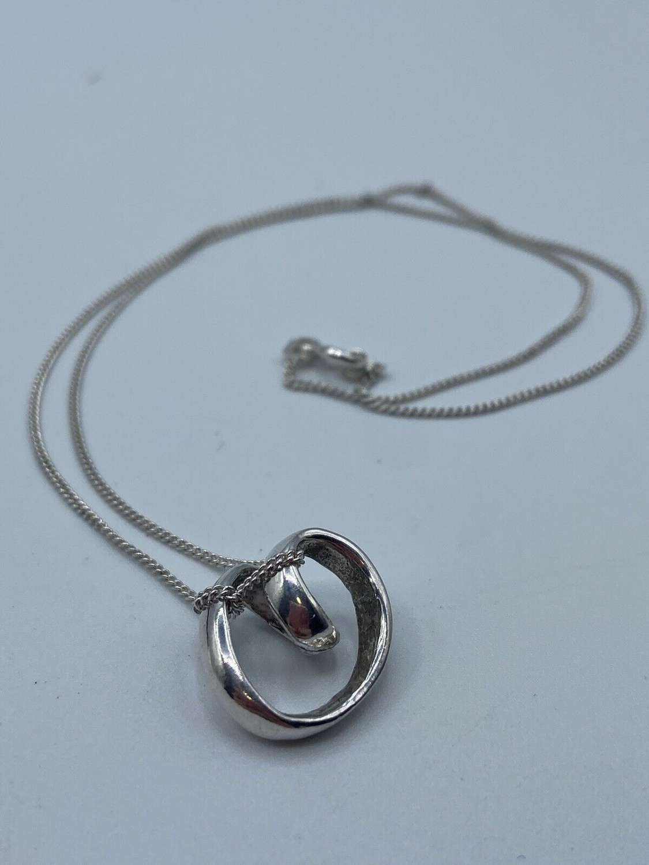 Antique Italian Silver Hallmarked IJ Italy 925 Eternity Necklace