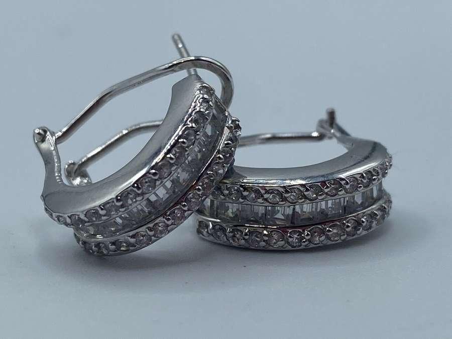 Vintage Costume Jewellery Leverback Hoop 925 Silver And Paste Earrings