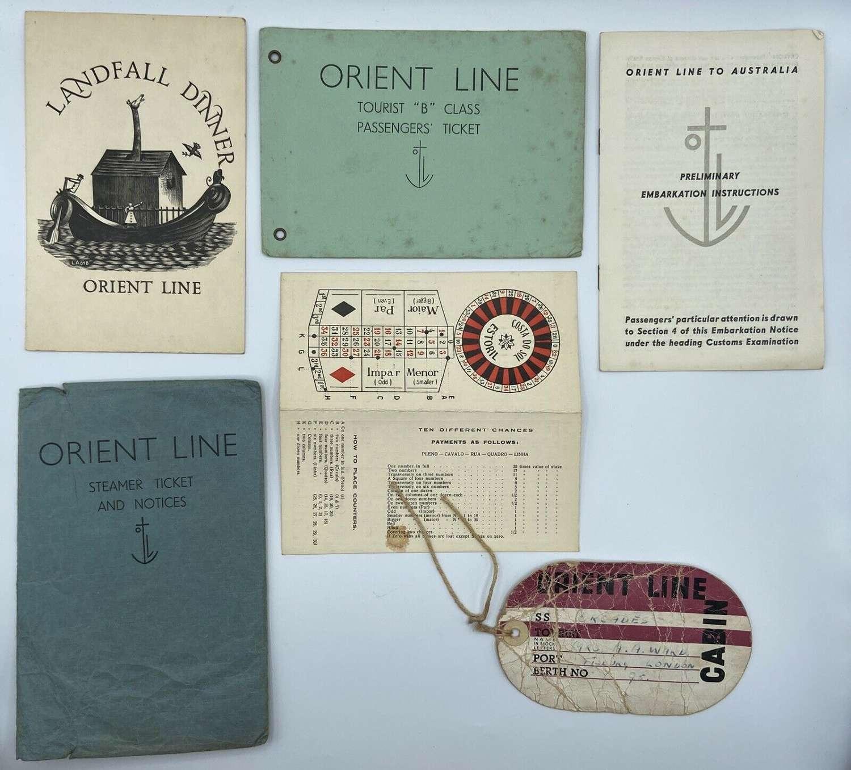 Vintage Passenger Tickets In Envelope Orient Line- SS Otranto 1952