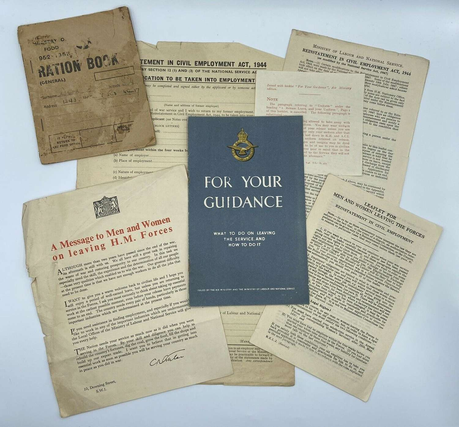 WW2 British Army Leaving The Forces Leaflets, Downing Street Etc