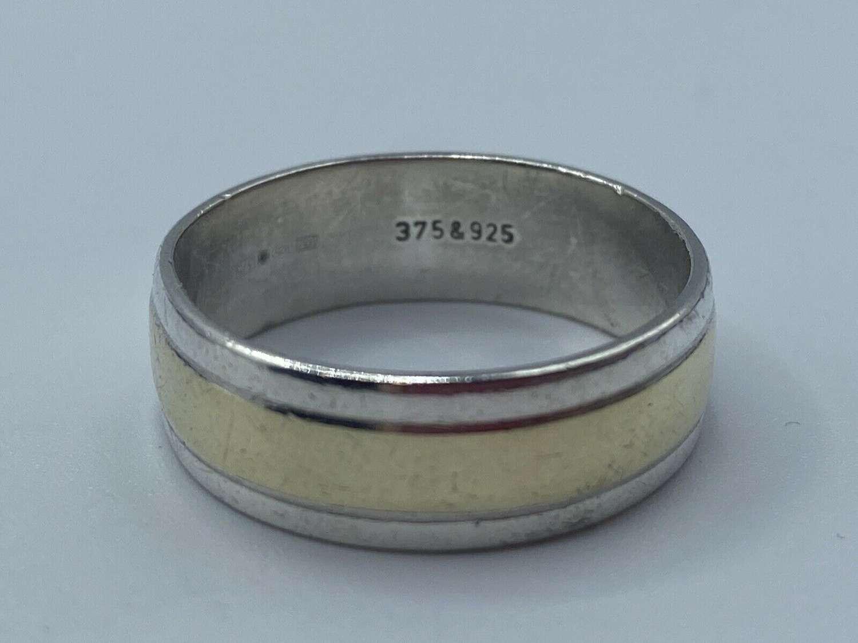 Vintage Silver & Gold Men's Wedding Band 925 & 375 Ring 5.28g WJJ