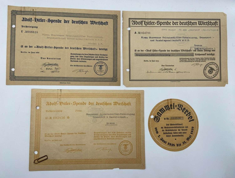 WW2 German Adolf Hitler Fund Trade  Industry Huge Donation Certificate