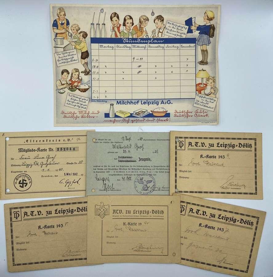 WW2 German Deutsches Jungvolk Calendar Leipzig& Certificates Milchhof