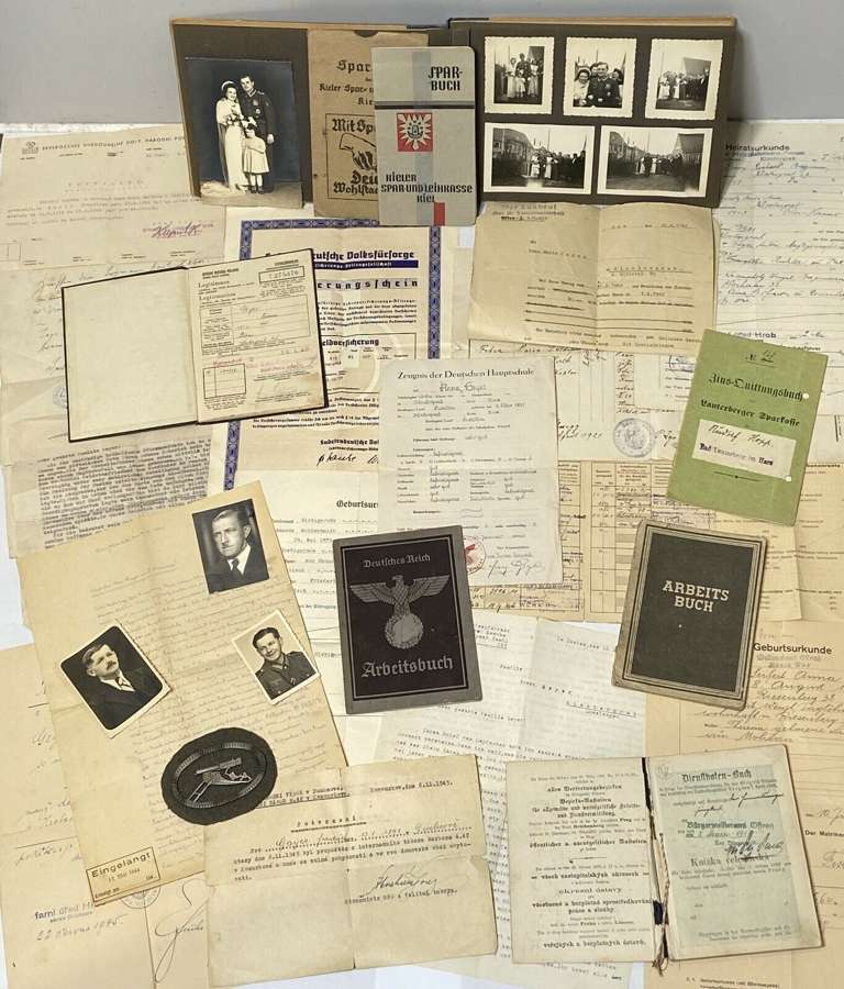 WW1 & WW2 German Military Group To Geyer Family Machinegun Badge etc