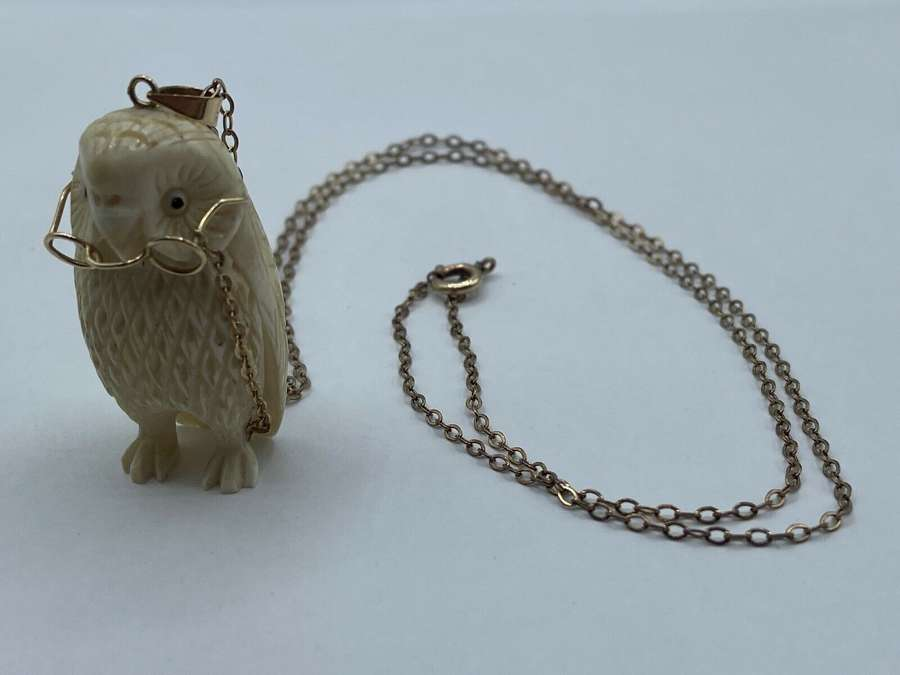 Victorian Carved Cow Bone Wise Old Owl With 14ct Marked 375 Spectacles