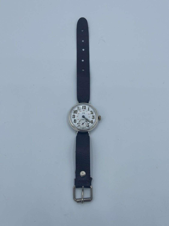WW1 British Officers Silver Hallmarked Trench Mechanical Watch 24 Hour