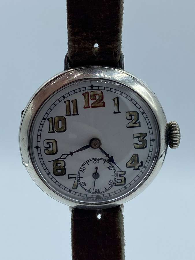 WW1 Silver Hallmarked British Officers Mechanical Trench Watch
