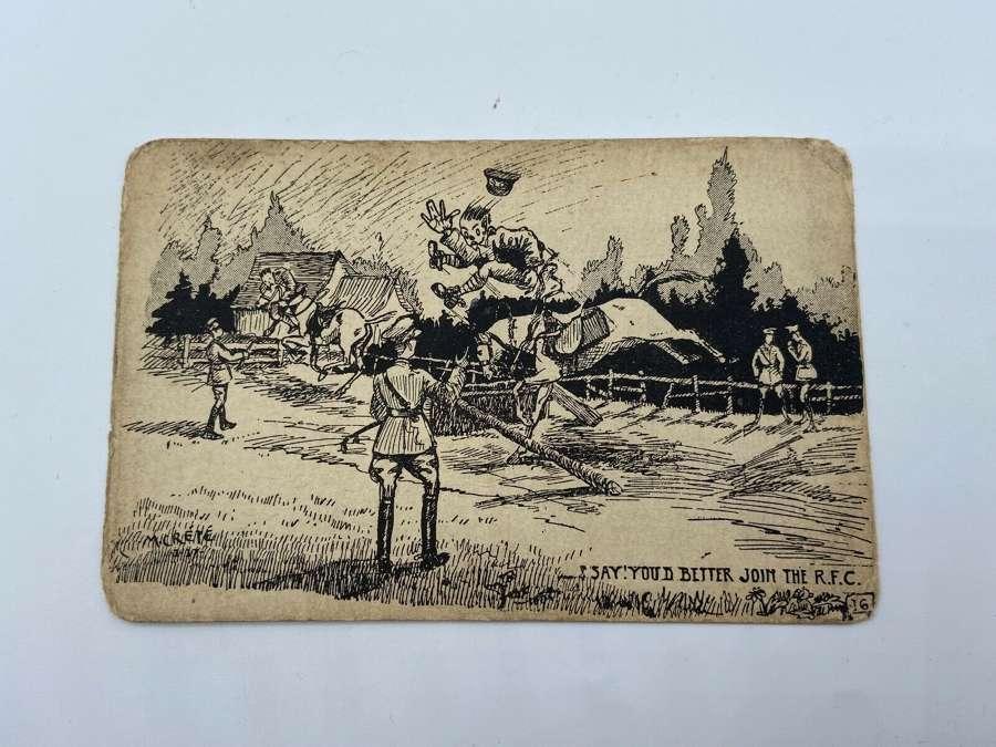 WW1 British Royal Flying Corps RFC Satire Postcard