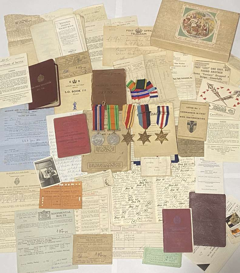 WW2 Searchlight RA Medal & Paperwork  Grouping Sgt P.P Cole 23 Years