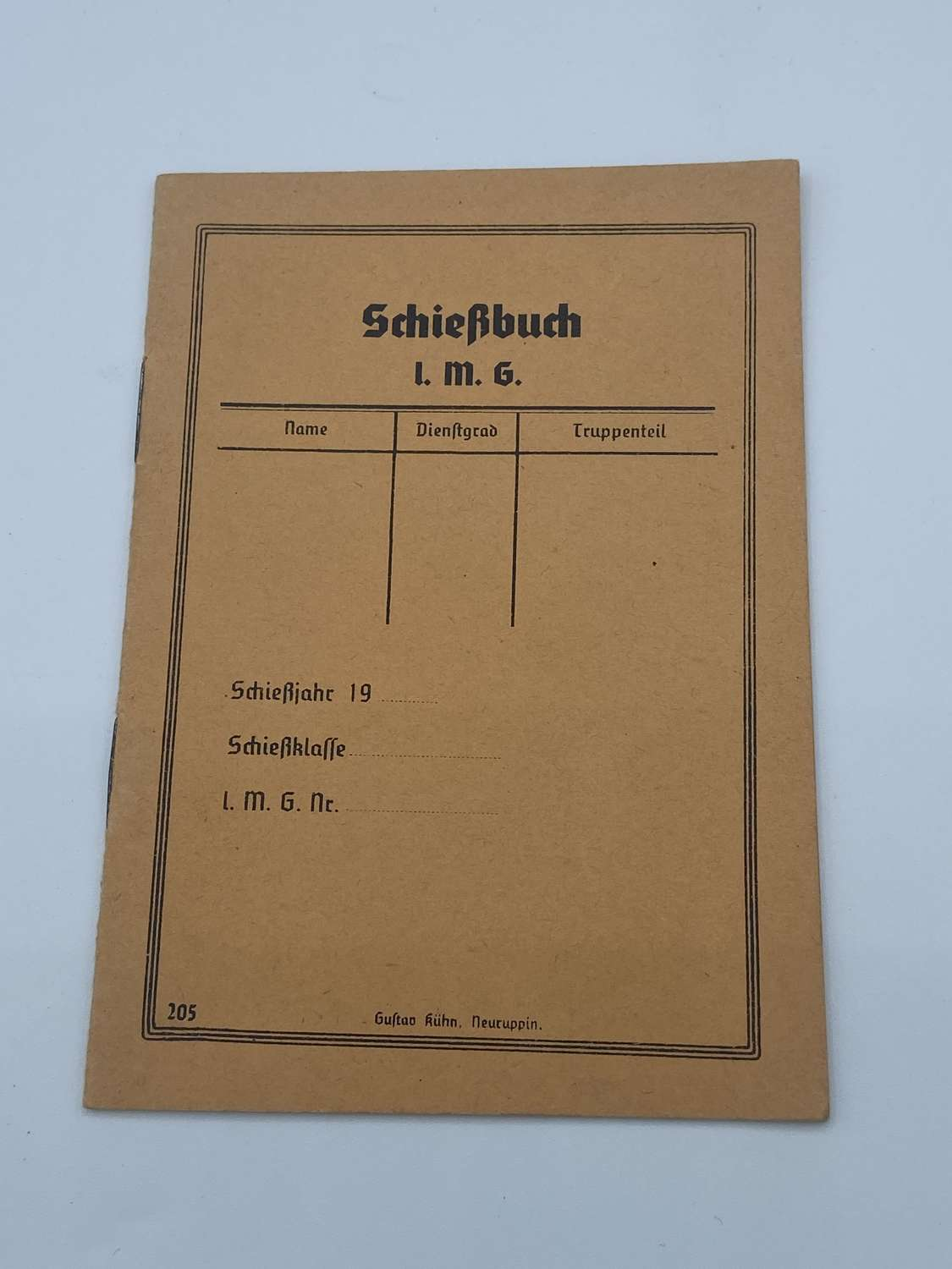 WW2 German 1938 Dated Wehrmacht Target Score Book Schierbuch Unissued