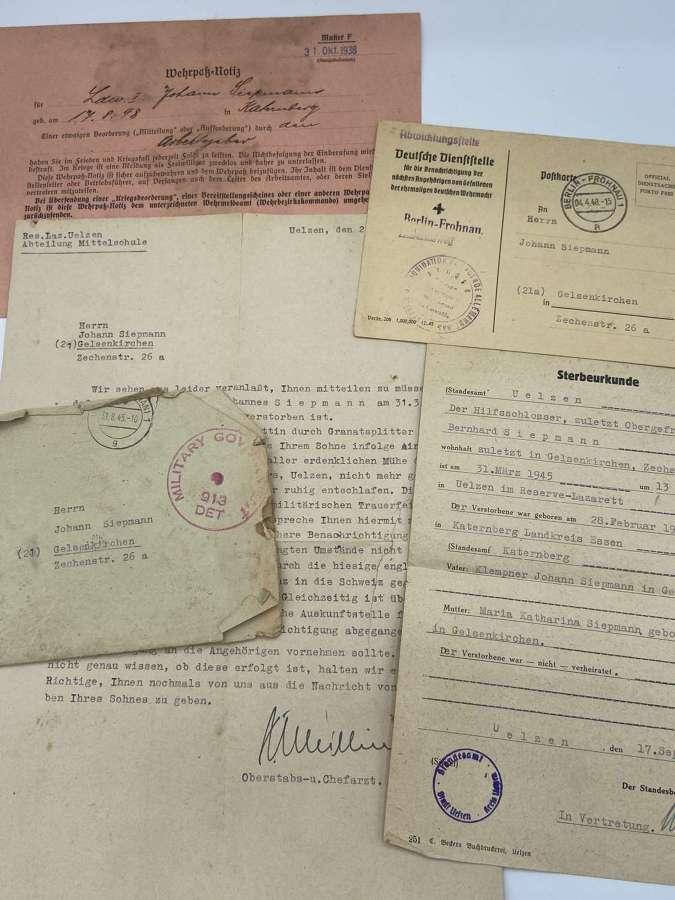 WW2 German Wehrmacht KIA Death Documents