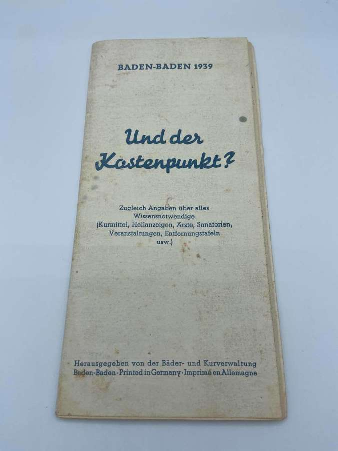 WW2 German 1939 Dated Travel Brochure Baden-Baden Leaflet