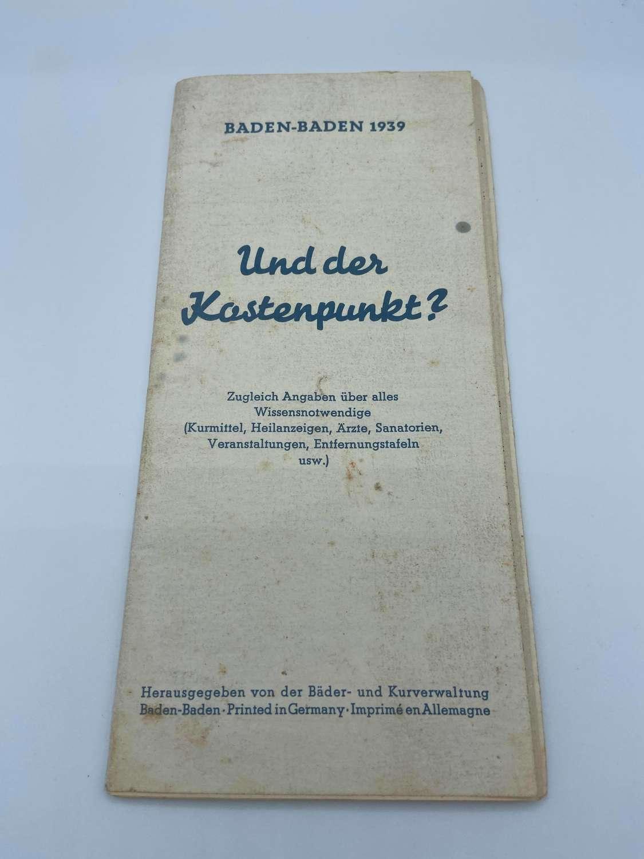 WW2 German 1939 Dated Travel Brochure Baden-Baden Leaflet