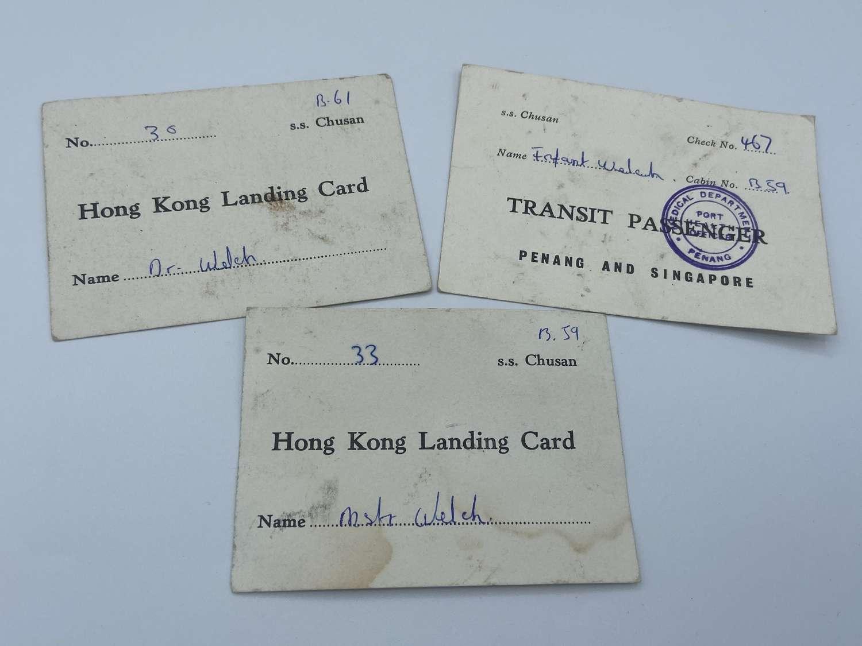 WW2 Occupation Of Jap Lot Of Hong Konh Landing & Transit Cards To A Dr