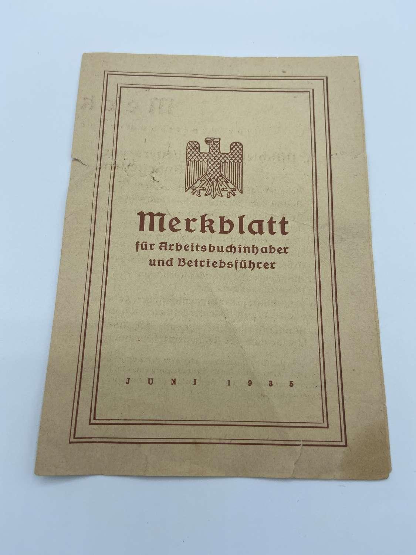 Pre WW2 1935 German Merkblatt Leaflet For Workers Encharge Of Business