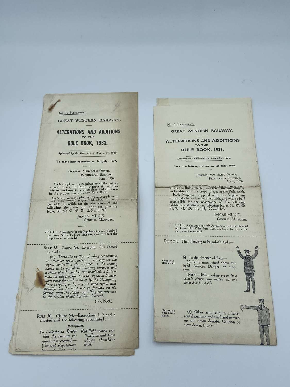 Ww2 1936-39 G.W Railway Alterations & Additions To The Rule Book