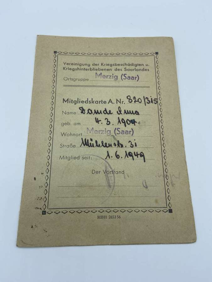 Post WW2 German 1949 Association Of War Victims & War Survivors Member