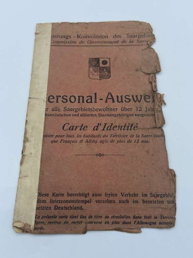 RareWW1 German Official Issue Ausweiss ID For Brit Occupied Saar+photo