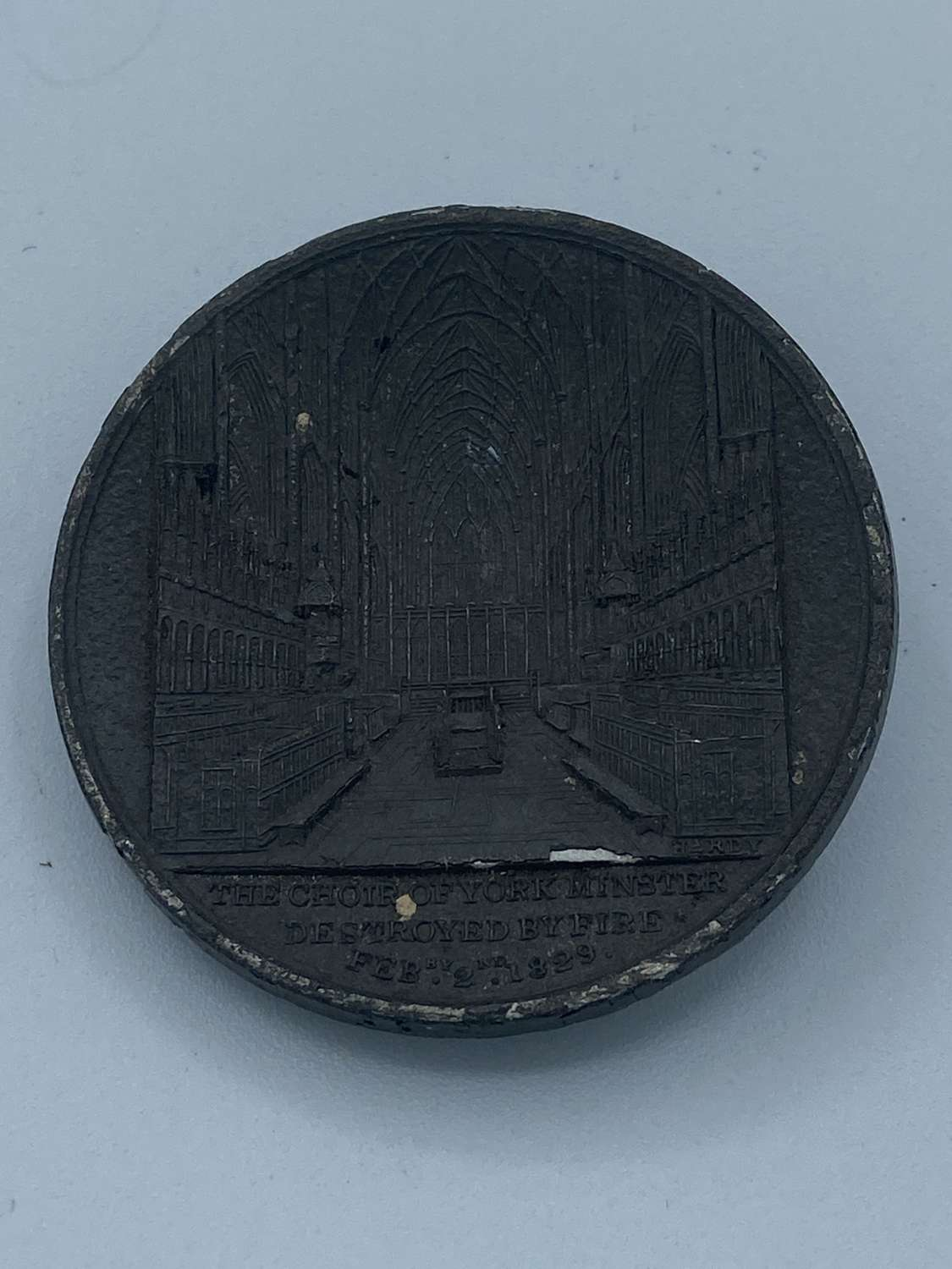 Antique York Minster 1829 Choir Destroyed By Fire By Hardy Medal