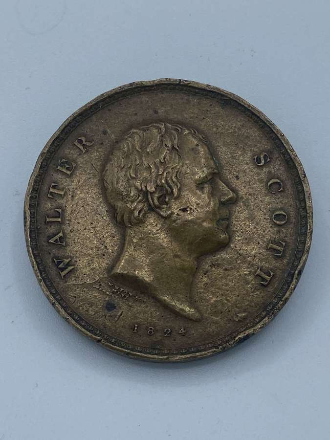 Rare Sir Walter Scott 1824 Bronze Commemorative Medal Minting Error