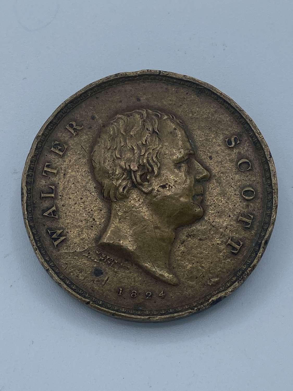 Rare Sir Walter Scott 1824 Bronze Commemorative Medal Minting Error
