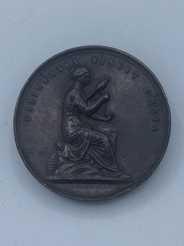 Victorian Diligentia Vincit Omnia Bronze Medal For General Inprovement