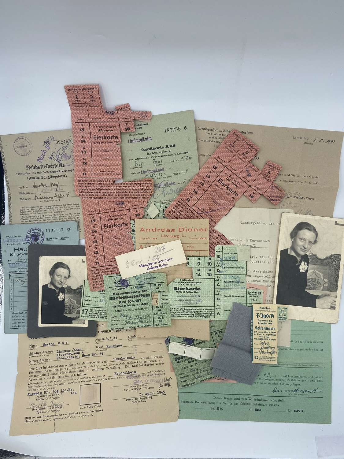 WW2 German Lot Of Ration Papers, Tickets, Stamps & Letters