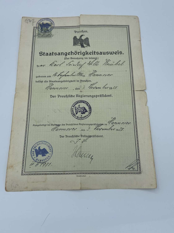 Post WW1 1928 Dated Prussian Nationality Citizenship Ceritifcate Pass