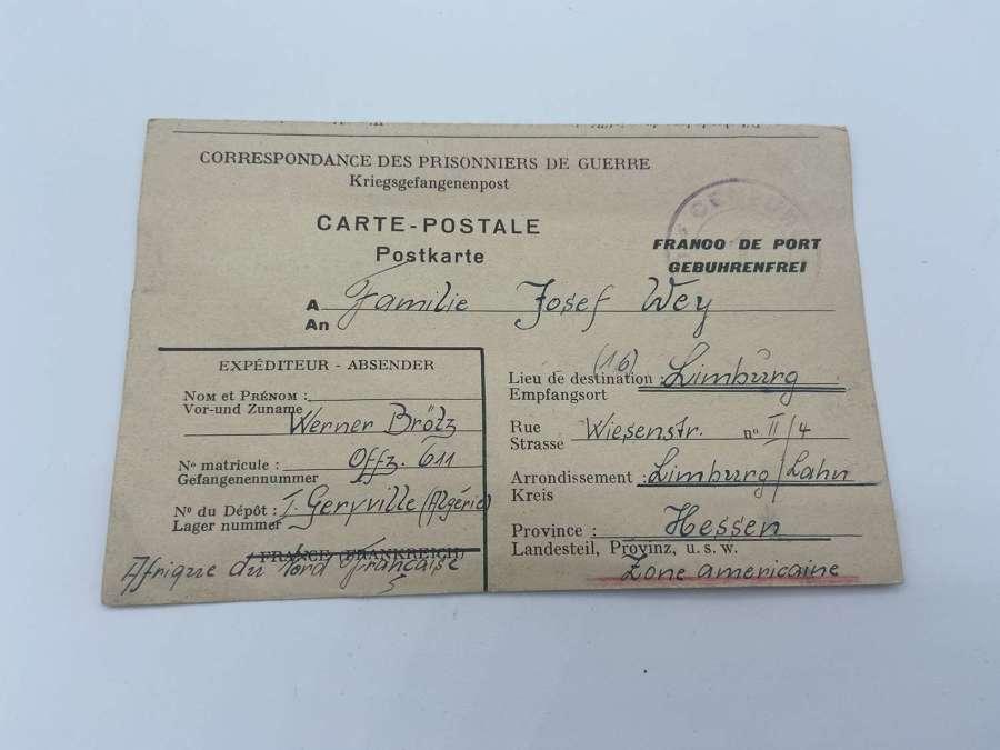 WW2 German Officer Werner Brotz DAK POW Letter 1947 Geryville Angeria