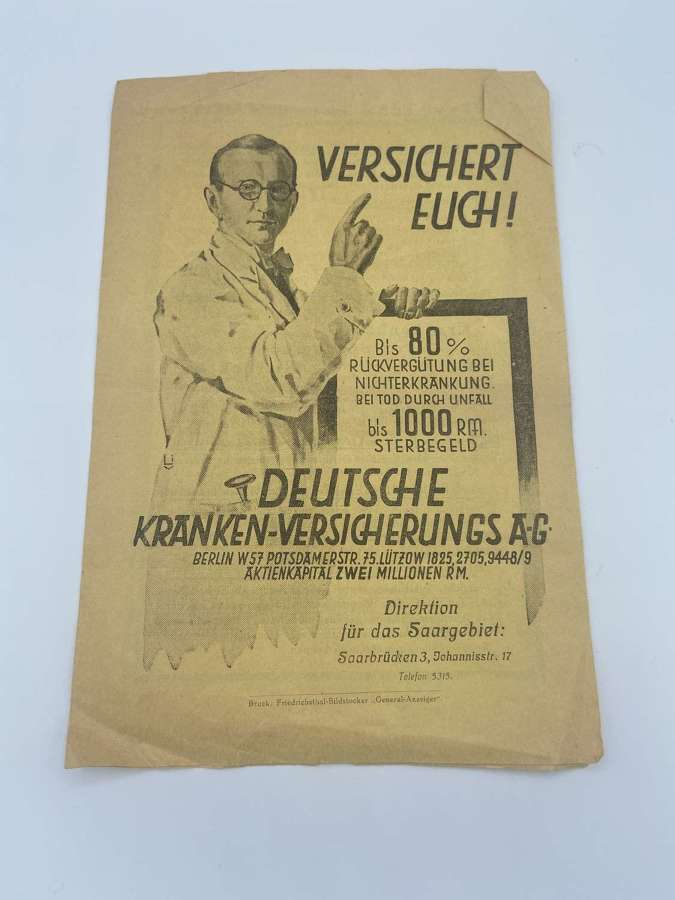 Pre WW2 German 1925 Dated Life Insurance Advertisement Leaflet