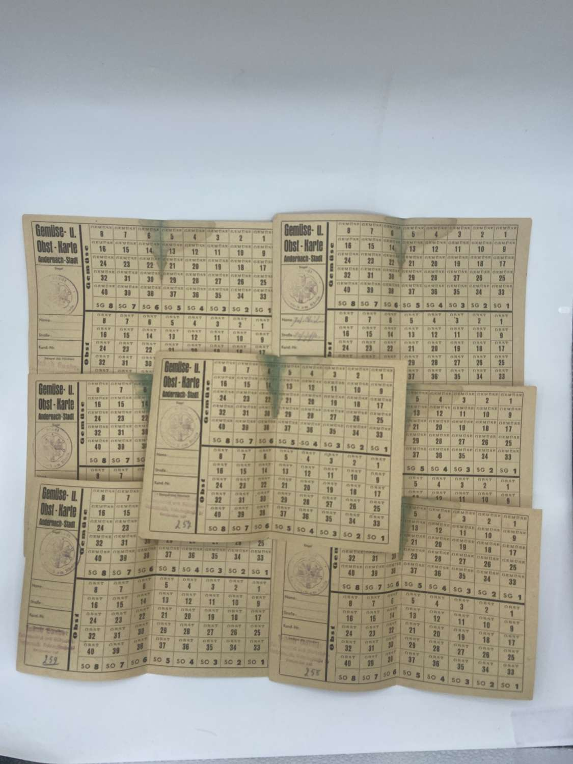 Rare Late 1920s Occupation Of The Rhein Vegetable Ration Cards X 7