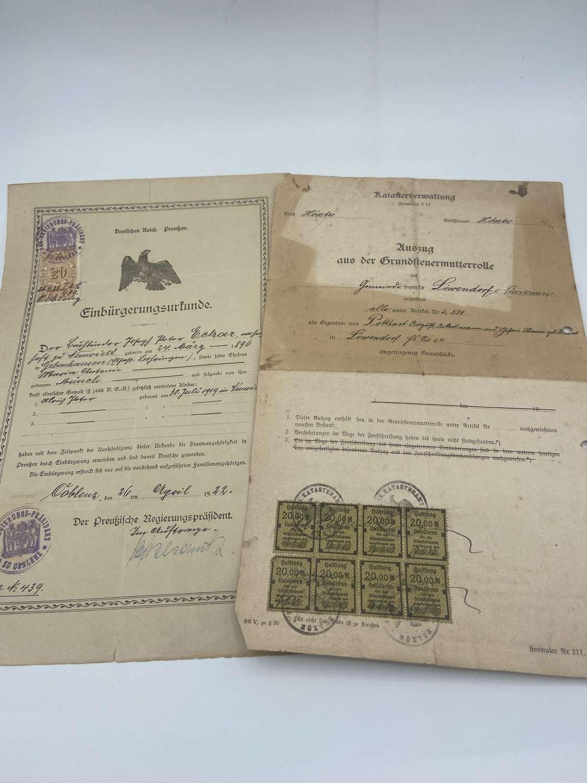 2 WW1 1920sGerman Prussian Neutralisation Certificate Ludendorf&family