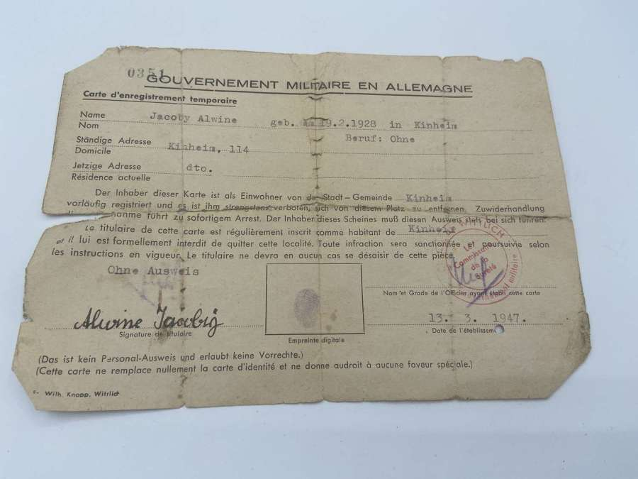 WW2 Germany French Occupation Zone Temporary ID Card Not Allowed To Le