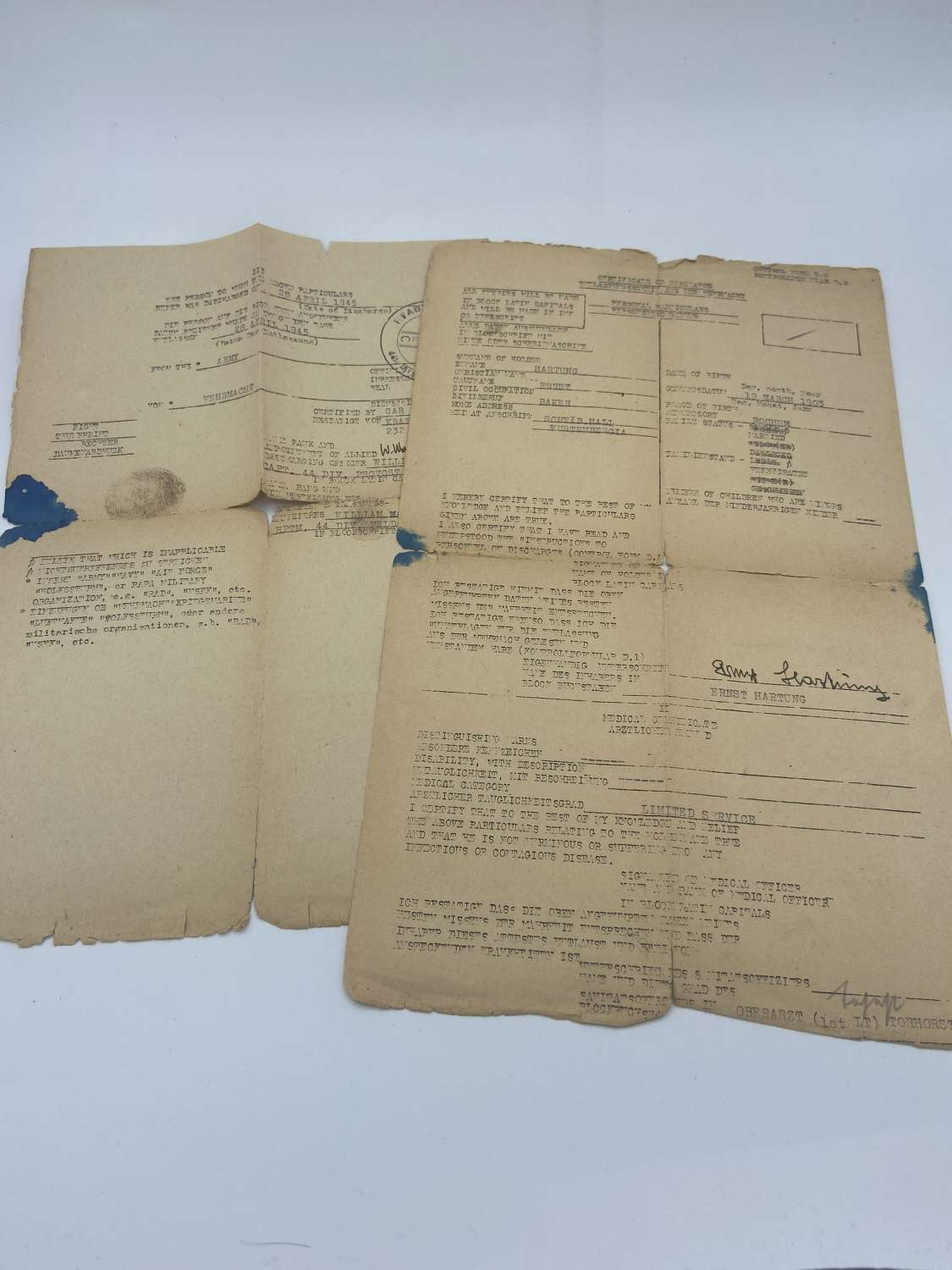 WW2 German Military Officer Discharge Certificates