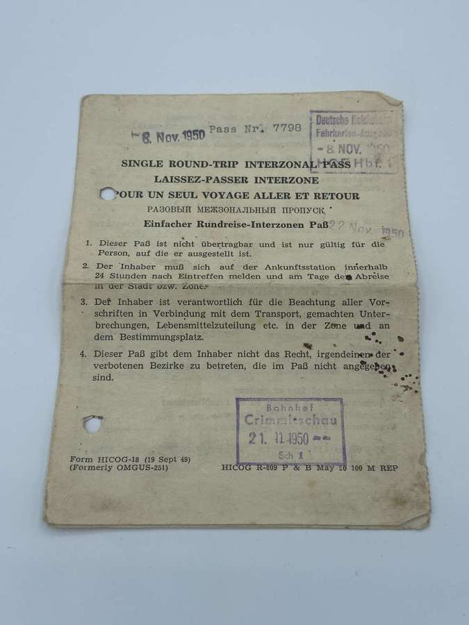 Rare RussianZone DDR PostWW2 German One Round Trip Interzonal Pass1950
