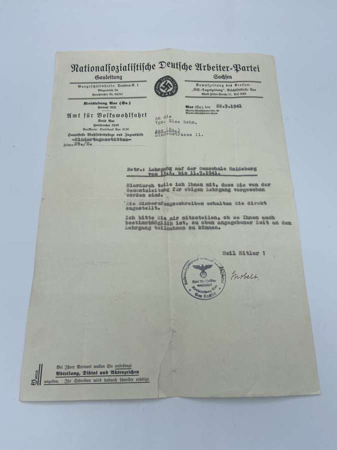 WW2 German Day Care Centres & Introduction Of New Courses Letter