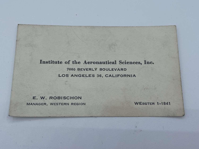 1930s Institute Of Aeronauticsl Sci Manager ER Robischon Business card