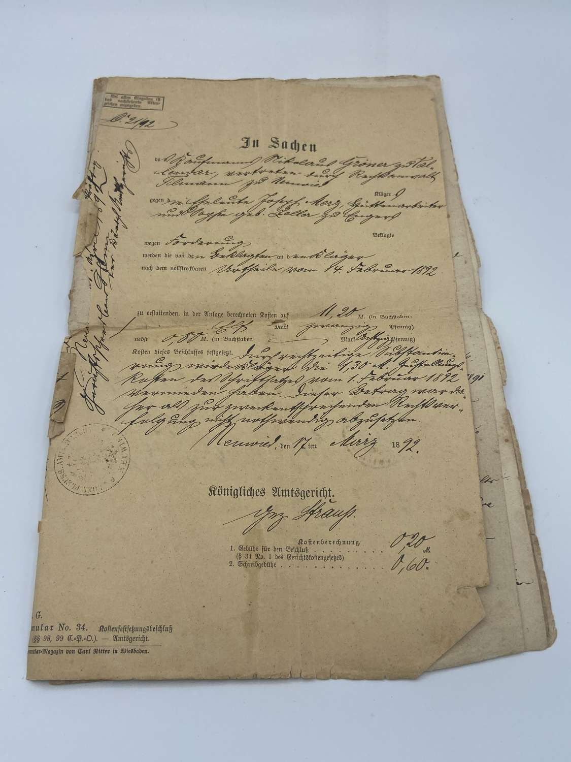 1890s German Pre WW1 In The Nane Of Your King Documents