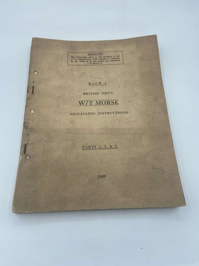 Rare Post WW2 1949 Restricted British Joint W/T MorseSignalling Instr.