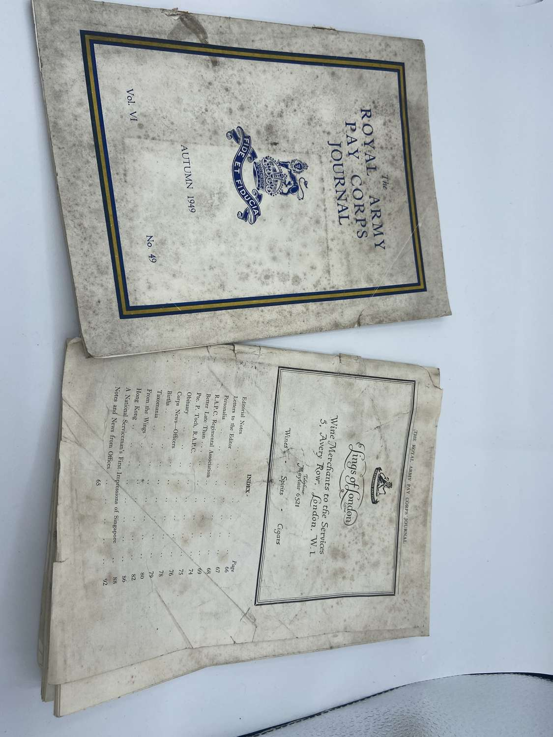 Pair Of Post WW2 Autumn 1949 Dated The Royal Army Pay Corps Journals