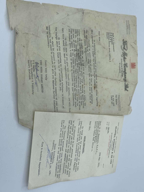 PostWW2 1950s Car Paperwork To Captain R C Bracewell RAPC For A Zephyr